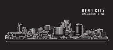 Cityscapebyggnadslinje design för konstvektorillustration - Reno stad stock illustrationer