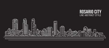 Cityscapebyggnadslinje design för konstvektorillustration - Rosario stad vektor illustrationer