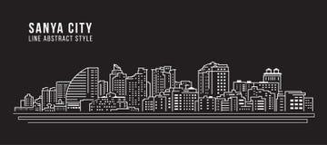 Cityscapebyggnadslinje design för konstvektorillustration - Sanya stad Fotografering för Bildbyråer