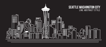 Cityscapebyggnadslinje design för konstvektorillustration - Seattle Washington City Royaltyfri Fotografi