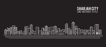 Cityscapebyggnadslinje design för konstvektorillustration - Sharjah stad vektor illustrationer