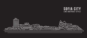Cityscapebyggnadslinje design för konstvektorillustration - Sofia stad royaltyfri illustrationer