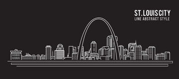 Cityscapebyggnadslinje design för konstvektorillustration - St Louis stad
