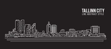 Cityscapebyggnadslinje design för konstvektorillustration - Tallinn stad Fotografering för Bildbyråer