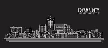 Cityscapebyggnadslinje design för konstvektorillustration - Toyama stad Royaltyfri Fotografi