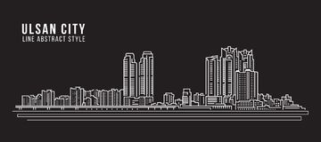 Cityscapebyggnadslinje design för konstvektorillustration - Ulsan stad Royaltyfri Bild