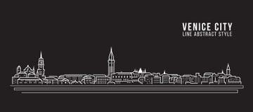 Cityscapebyggnadslinje design för konstvektorillustration - Venedig stad Royaltyfri Foto
