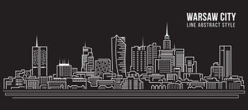 Cityscapebyggnadslinje design för konstvektorillustration - Warszawastad vektor illustrationer