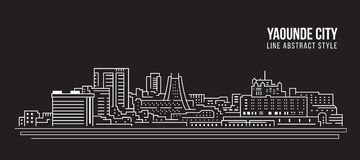 Cityscapebyggnadslinje design för konstvektorillustration - Yaounde stad Royaltyfria Bilder
