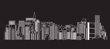 Cityscapebyggnadslinje design för konstvektorillustration Royaltyfri Fotografi