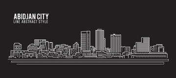 Cityscapebyggnadslinje design för konstvektorillustration - Abidjan stad Royaltyfri Fotografi