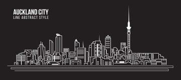 Cityscapebyggnadslinje design för konstvektorillustration - Auckland stad Arkivfoto