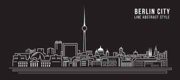 Cityscapebyggnadslinje design för konstvektorillustration - Berlin stad Royaltyfri Fotografi