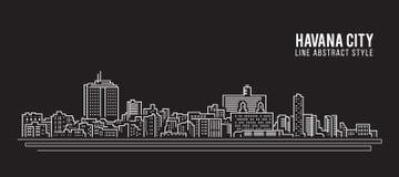 Cityscapebyggnadslinje design för konstvektorillustration - havannacigarrstad Royaltyfria Bilder