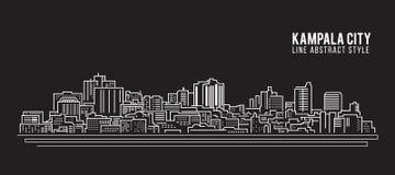 Cityscapebyggnadslinje design för konstvektorillustration - Kampala stad Royaltyfri Bild