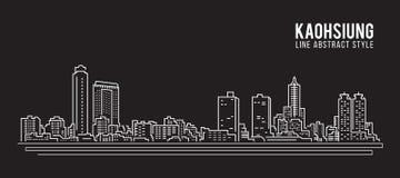 Cityscapebyggnadslinje design för konstvektorillustration - Kaohsiung stad Royaltyfri Fotografi