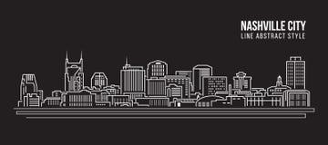 Cityscapebyggnadslinje design för konstvektorillustration - Nashville stad Royaltyfri Bild