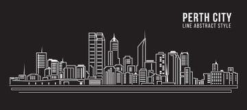 Cityscapebyggnadslinje design för konstvektorillustration - Perth stad Arkivfoton