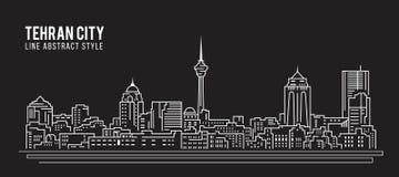 Cityscapebyggnadslinje design för konstvektorillustration - Teheran stad Royaltyfri Foto