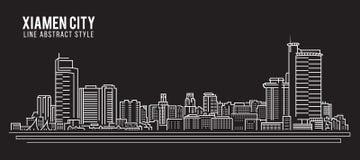 Cityscapebyggnadslinje design för konstvektorillustration - Xiamen stad Arkivbilder