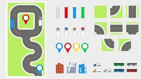 Cityscapedesignbeståndsdelar med vägen, transport, byggnader, navigeringben Färdplanvektorillustration eps 10 May att användas fö Royaltyfri Foto