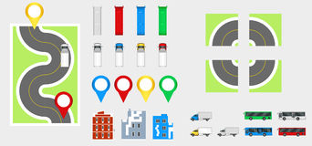 Cityscapedesignbeståndsdelar med vägen, transport, byggnader, navigeringben Färdplanvektorillustration eps 10 May att användas fö Arkivfoton