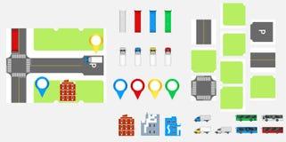 Cityscapedesignbeståndsdelar med vägen, transport, byggnader, navigeringben Färdplanvektorillustration eps 10 May att användas fö Arkivbild