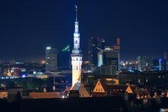 cityscapeestonia natt tallinn Royaltyfri Foto