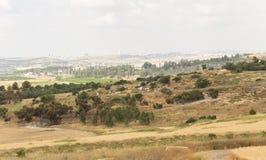 Cityscapefältblomning, Modiin, Israel Arkivfoton