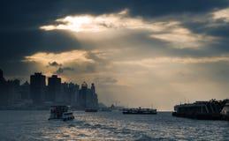 cityscapehamn Hong Kong victoria Arkivfoton