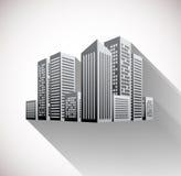 Cityscapeillustration med lång skugga Arkivbild
