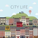 Cityscapelandskap i plan design Fotografering för Bildbyråer