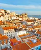 CityscapeLissabon gammal stad, Portugal Arkivfoto