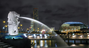 cityscapemerlion singapore Royaltyfri Foto