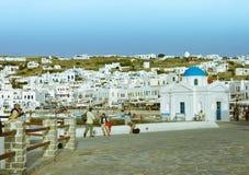 cityscapemykonos Arkivfoto