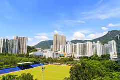 Cityscapen av Lok Fu i Hong Kong royaltyfri fotografi