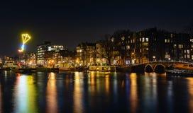 Cityscapenatt, Amsterdam Arkivfoton