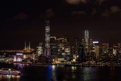 Cityscapenatt Tsim Sha Tsui Hong Kong Arkivfoto