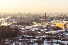 Cityscapeproduktionområde på morgonljus Fotografering för Bildbyråer