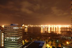 Cityscapes 2. View of the Durban, South Africa harbour at night Stock Photo