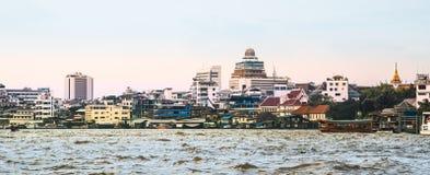 Cityscapes along the Chao Phraya River in Bangkok Stock Photography