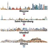 Cityscapes av Moskva, St Petersburg, Istanbul och Aten Flaggor av Ryssland, Turkiet och Grekland Hög detaljerad illustratio för v stock illustrationer