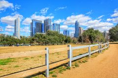 Cityscapes. Beautiful Austin downtown skyline from the fence of Lady Bird Lake cityscapes stock image