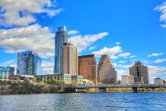 Cityscapes. Beautiful Austin downtown skyline from the shores of Lady Bird Lake cityscapes stock photos