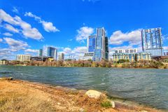 Cityscapes. Beautiful Austin downtown skyline from the shores of Lady Bird Lake cityscapes stock photo