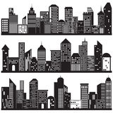 Cityscapes and Building Silhouettes Design Stock Photo