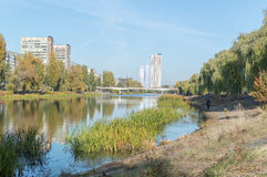 Cityscapes. Early autumn in the city, near the water treatment plant Stock Photo