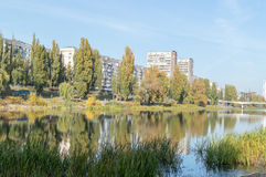 Cityscapes. Early autumn in the city, near the water treatment plant Stock Image