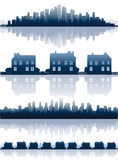 Cityscapes reflections. City silhouettes, cityscape and skylines Royalty Free Stock Photos