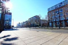 Cityscapes of San Francisco. On a beautiful sunny day, near AT&T Park stadium stock images